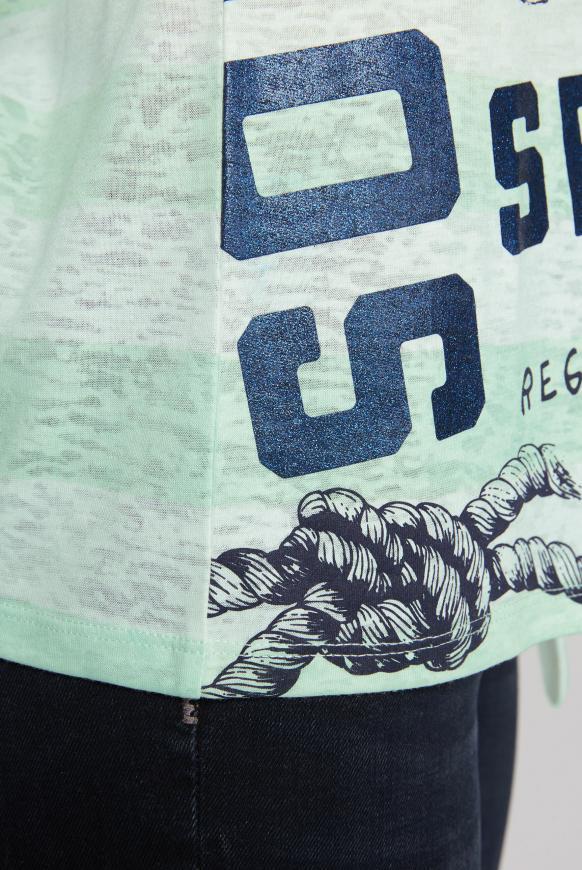 Streifenshirt mit Ausbrennern und Knotensaum