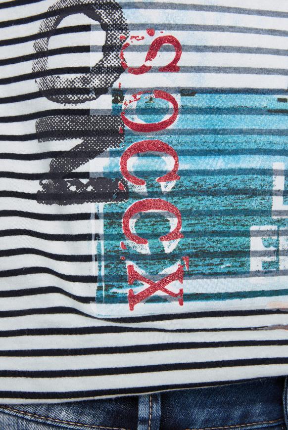 Streifenshirt mit Photo- und Glitter-Print