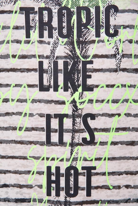 Streifentop mit Burnouts und Print