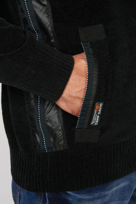 Strickjacke aus Chenille mit Nylon-Kapuze
