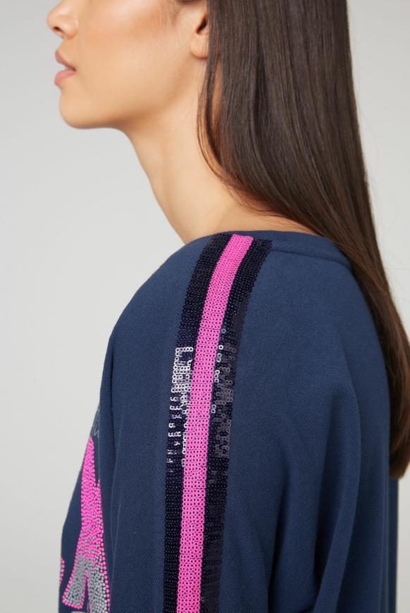 Sweatshirt mit Logo und Pailletten-Tape