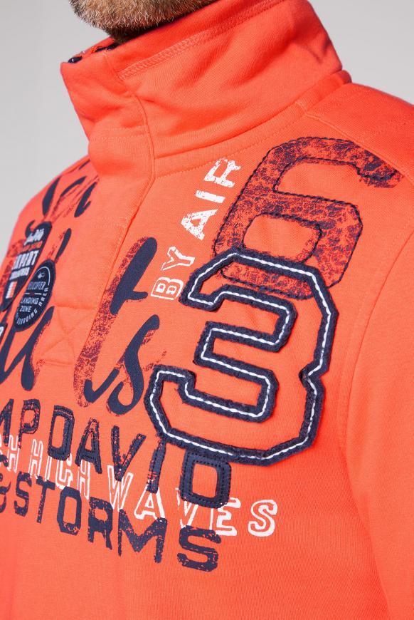 Sweatshirt mit Troyer-Kragen und Artwork