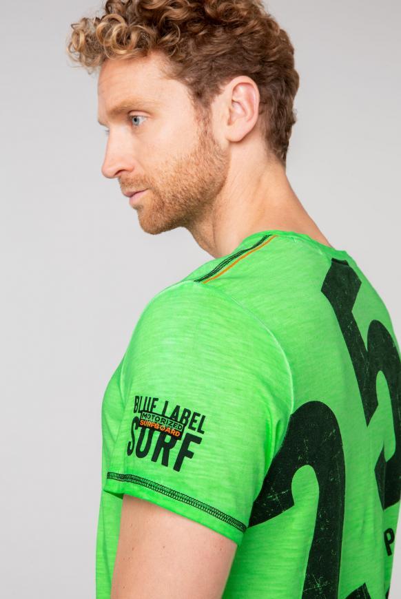 T-Shirt mit V-Neck und Rücken-Print