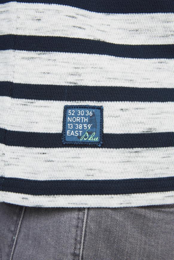 Gestreiftes Henley-Shirt mit Artworks