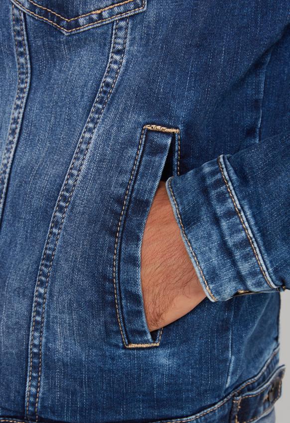 Jeansjacke mit Used Look und Cordkragen