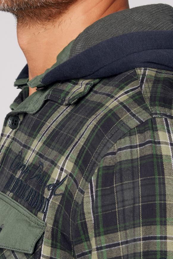 Kariertes Flanellhemd mit Sweatkapuze