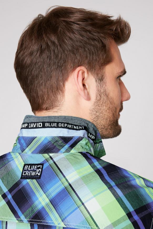 Langarmhemd mit Neon-Karo und Taschen