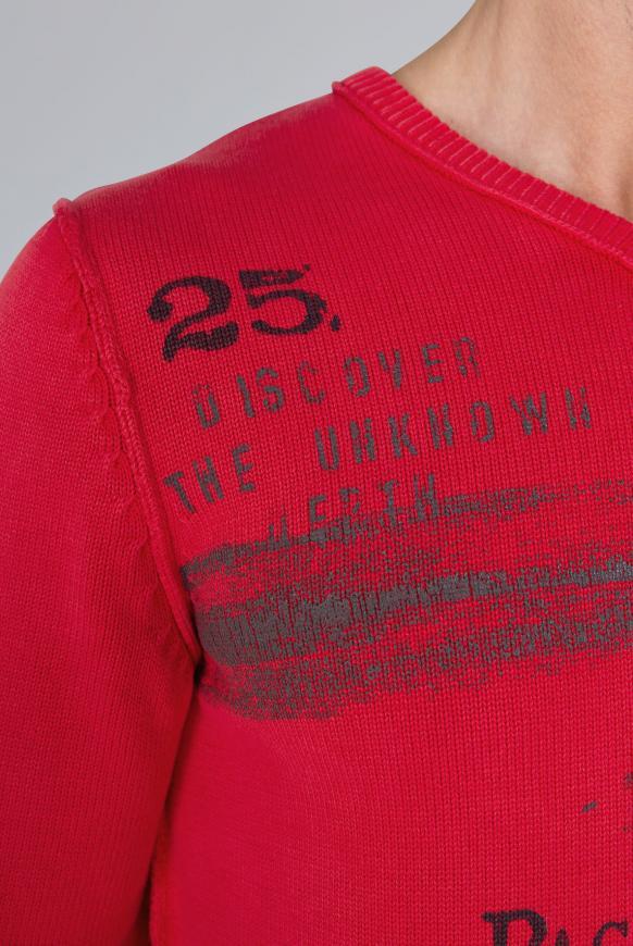 Pullover mit V-Neck und Vintage Print