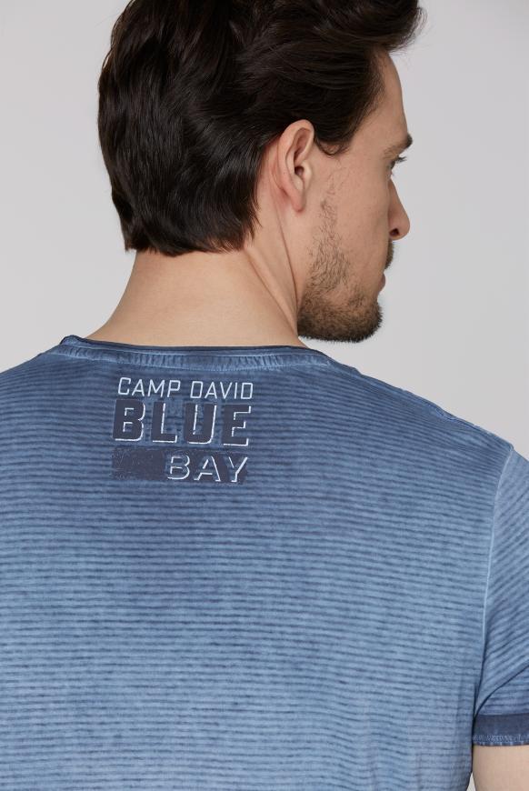 Streifenshirt mit Used-Kanten und Frontprint