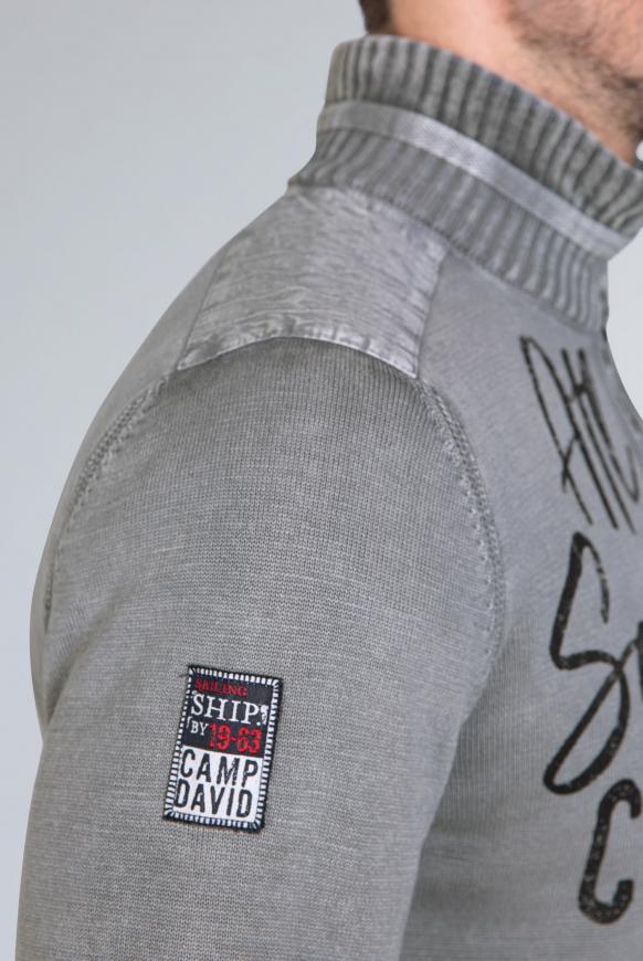 Strick-Troyer im Used Look mit Label Prints