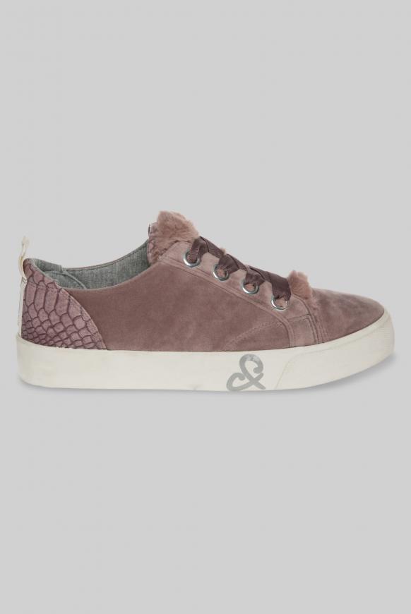 Veganer Plateau Sneaker in Samtoptik