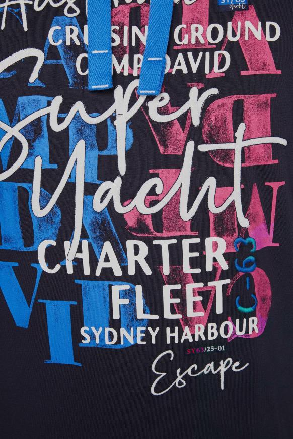 Hoodie mit Watercolour Print und Stickereien