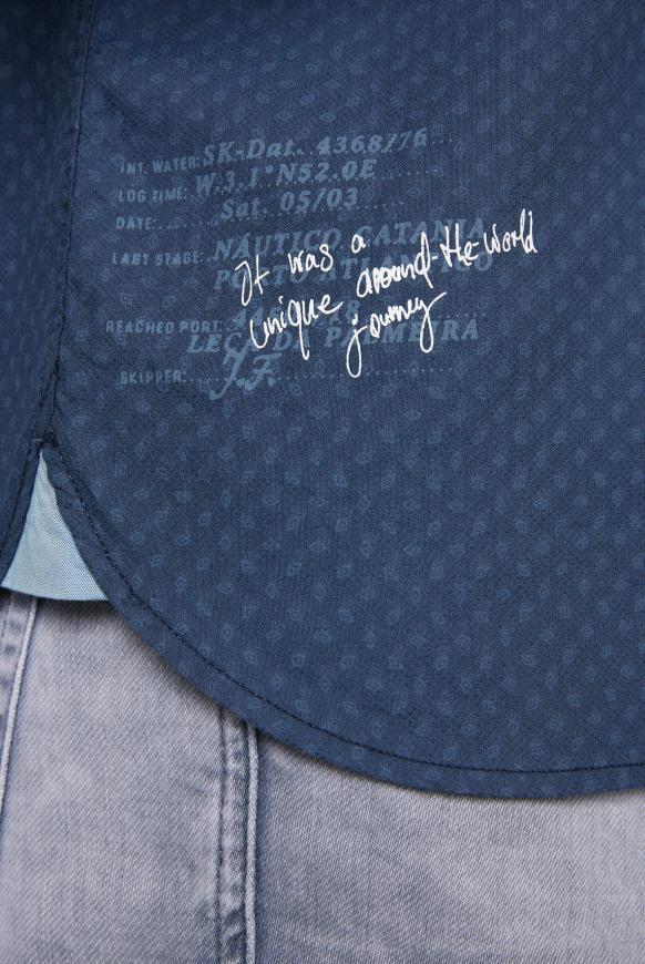 Jacquard-Langarmhemd mit kleinen Artworks