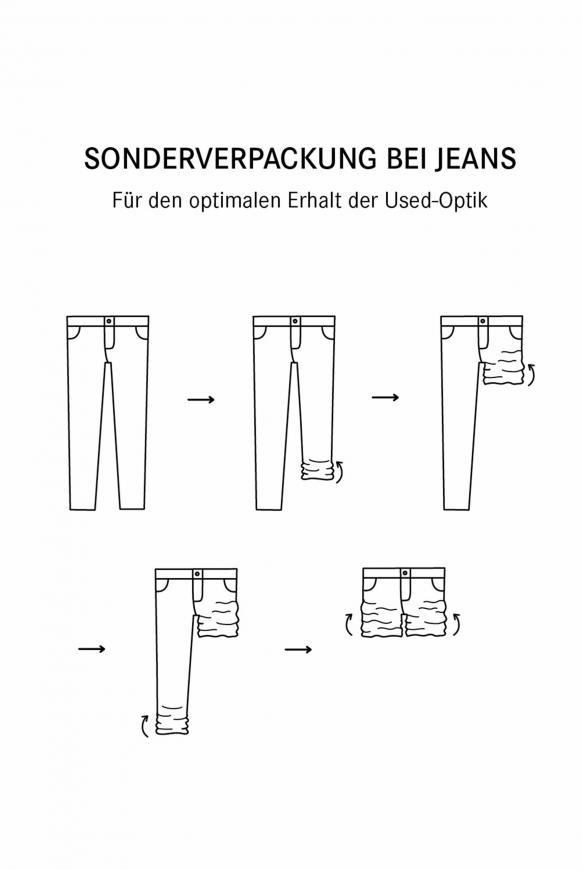 Jeans KA:RA mit Used-Optik und Back Prints