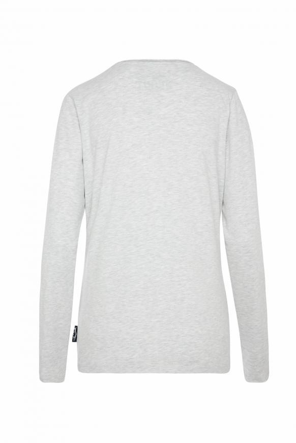 Langarmshirt mit Used-Kanten und Glitter Print