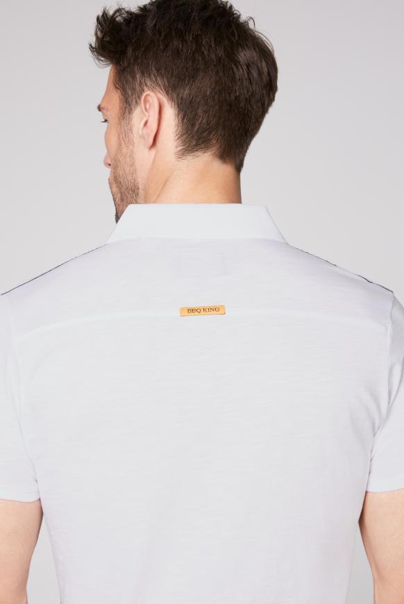 Poloshirt aus Flammgarn mit Vintage Print