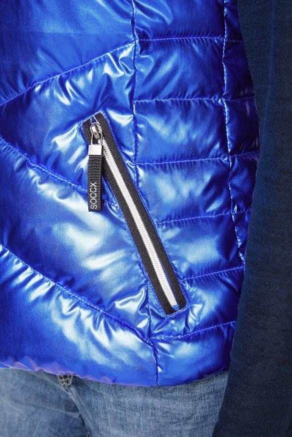 Steppweste mit Kapuze im Metallic-Design