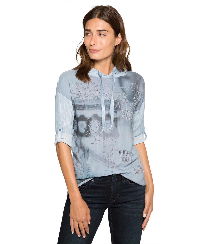 Blusenshirt mit Kapuze und Photoprint
