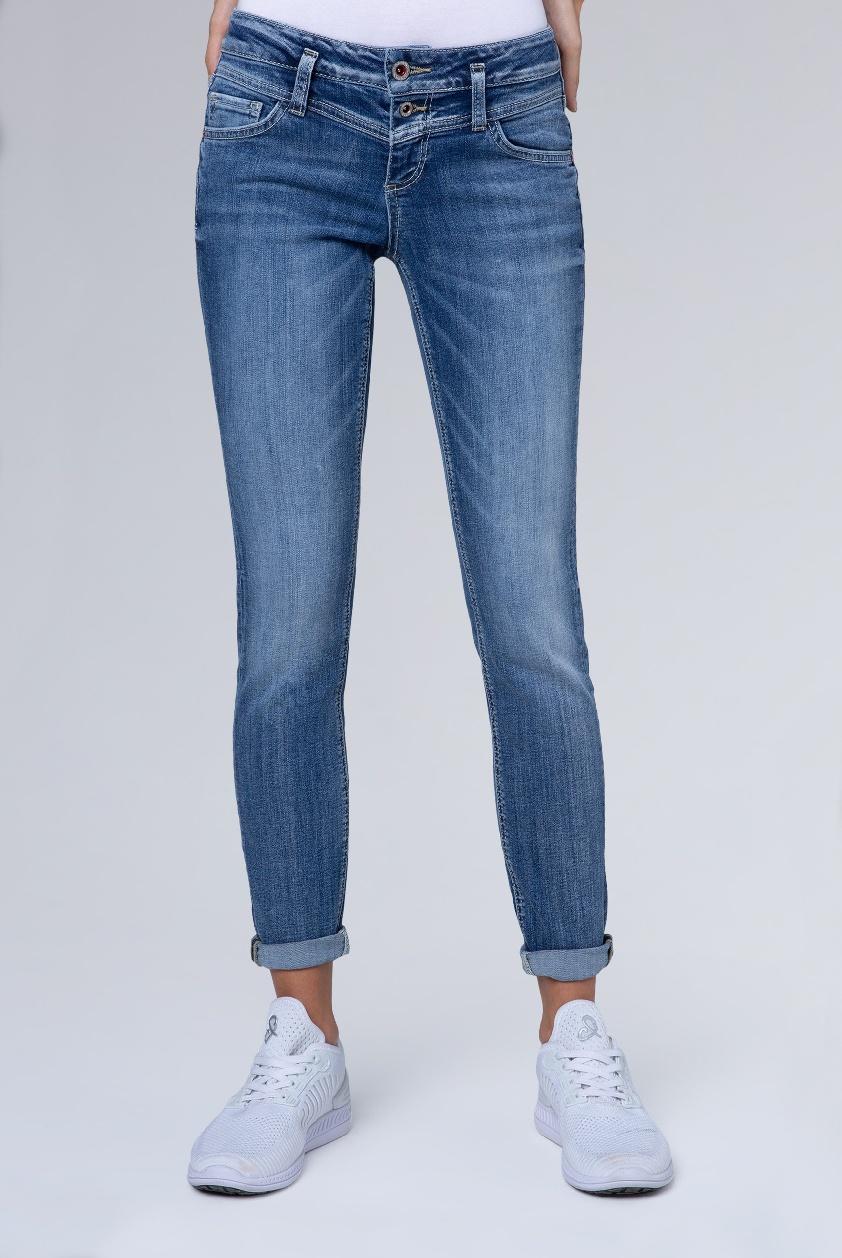 Dark used Jeans KA:RA mit Doppelknopf