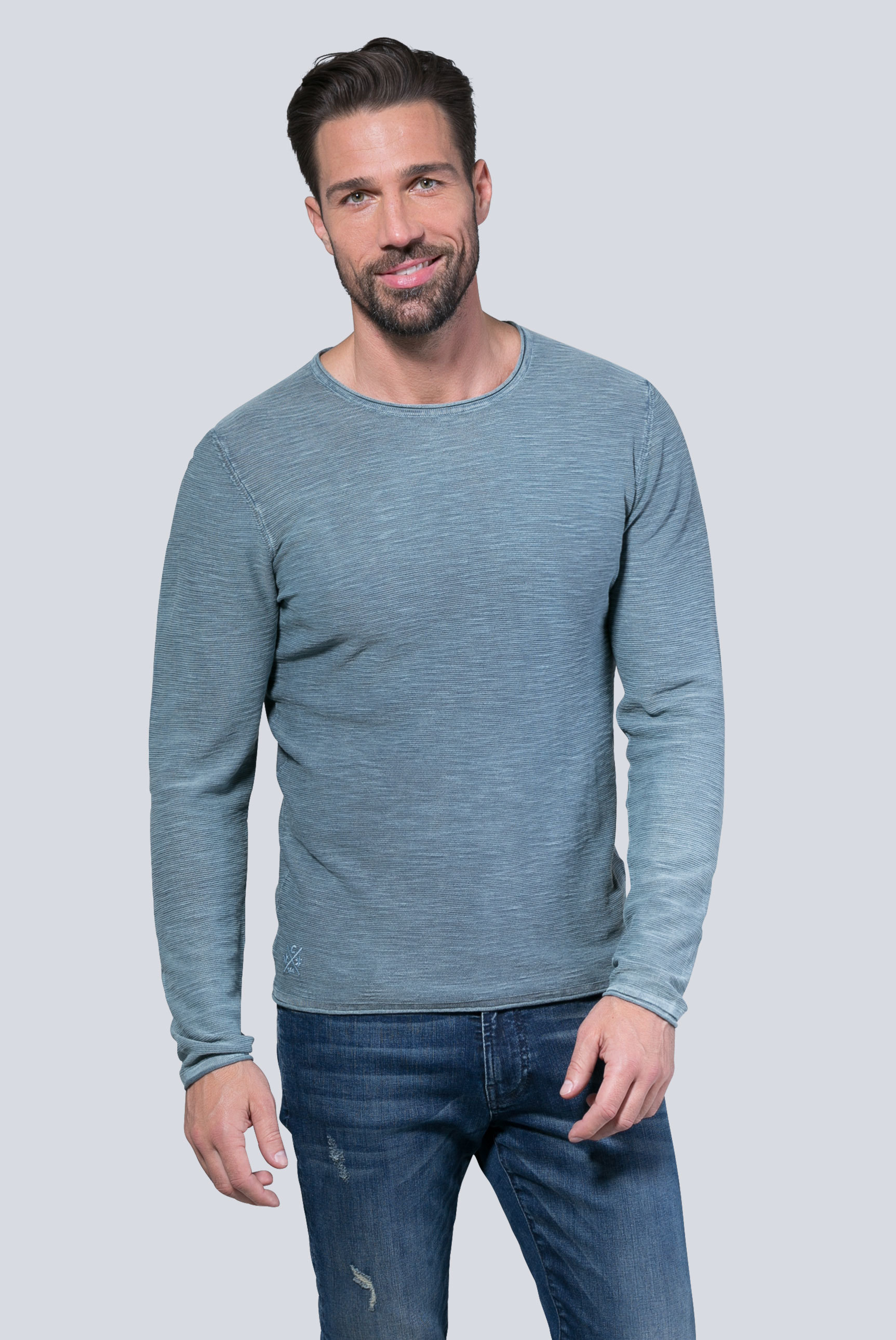Stone Washed Pullover in Linksstrick