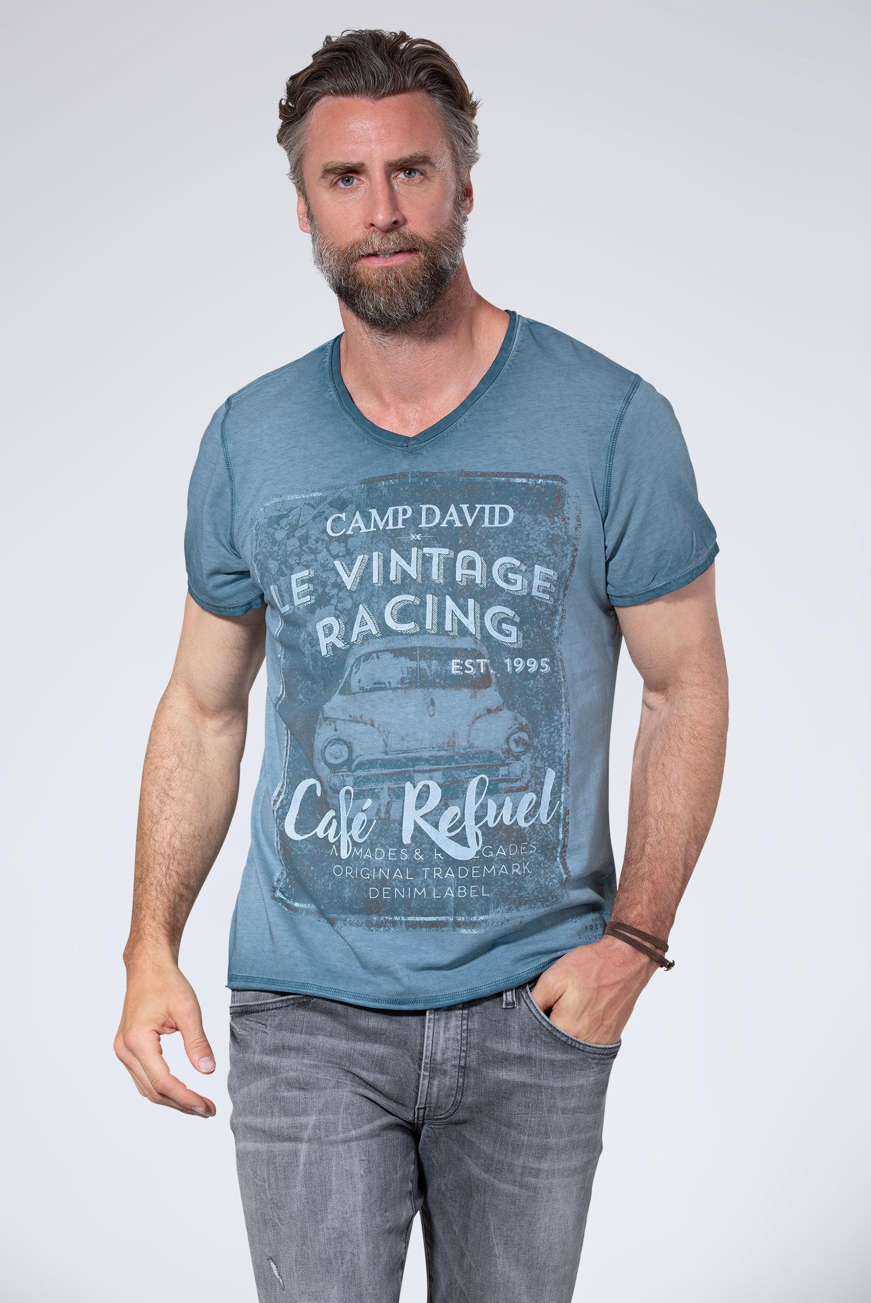 T-Shirt mit V-Neck und Used-Optik