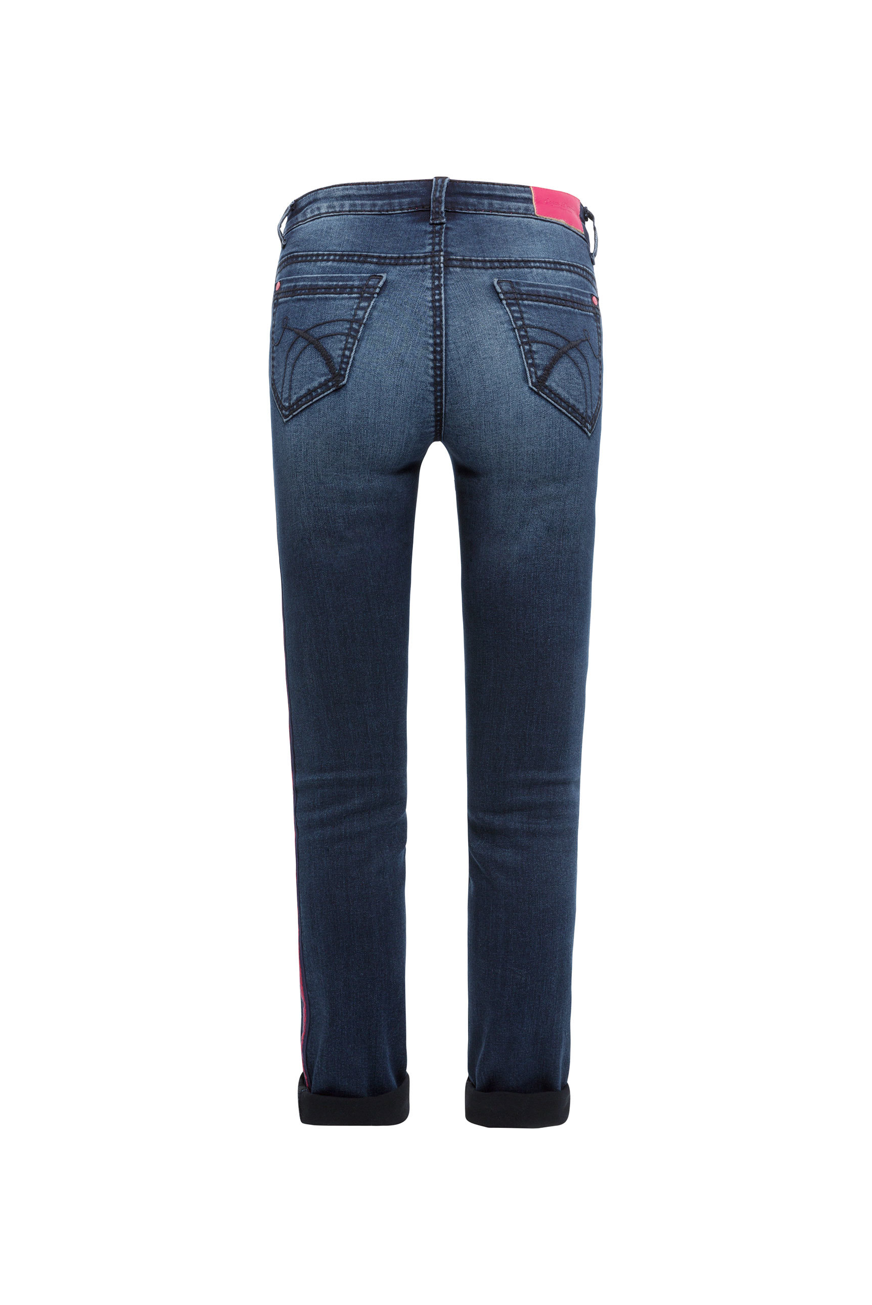Jeans mit Moustache-Effekten und Seitentape RO:MY