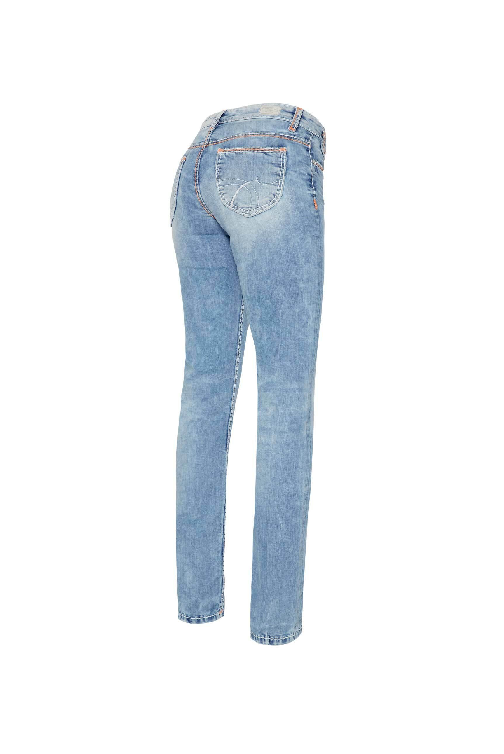 Light Random Jeans CO:LE mit Neon-Details, Comfort Fit