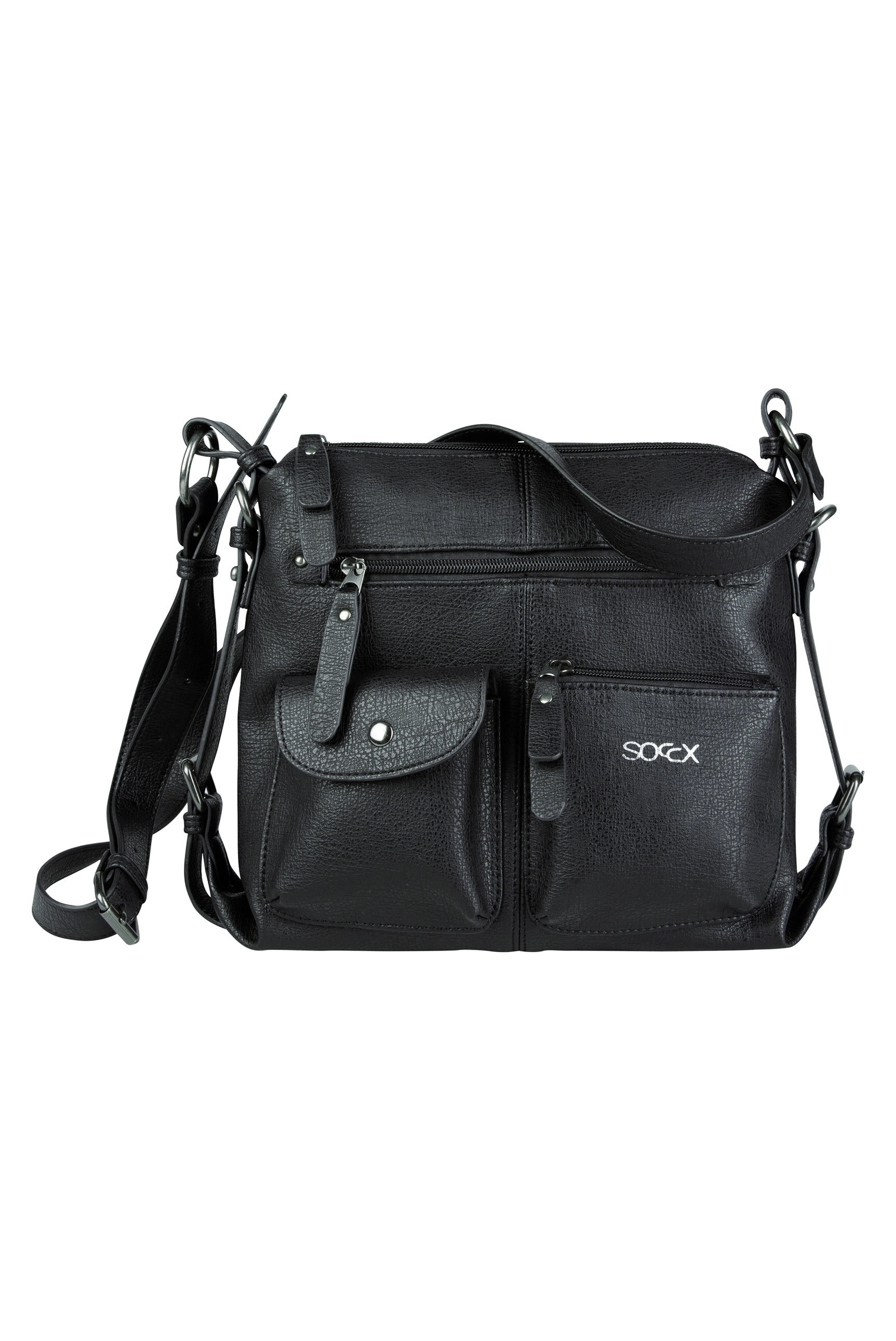 Crossbody Bag aus Lederimitat mit Vorfächern