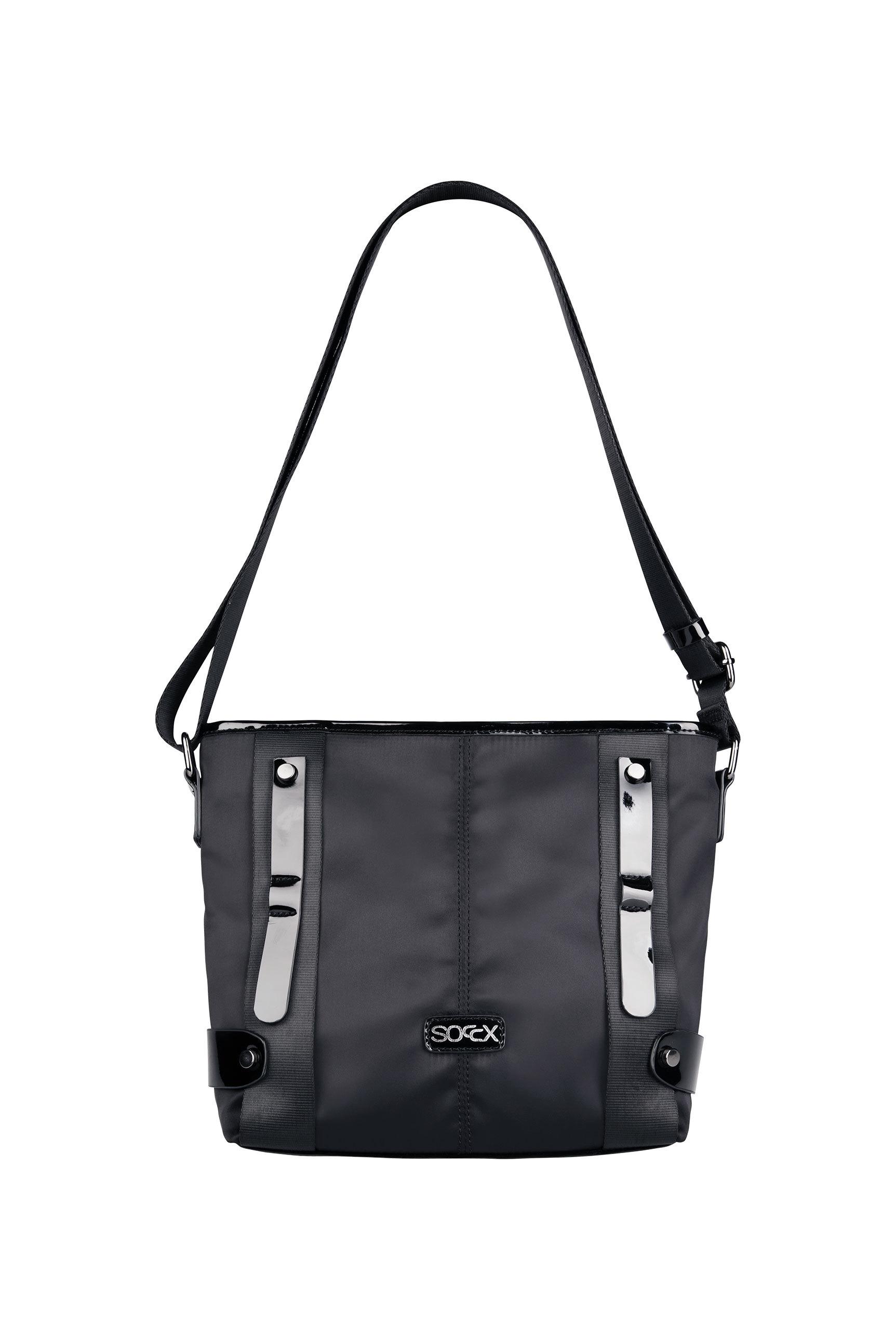 Crossbody Bag aus Nylon mit Lack-Details