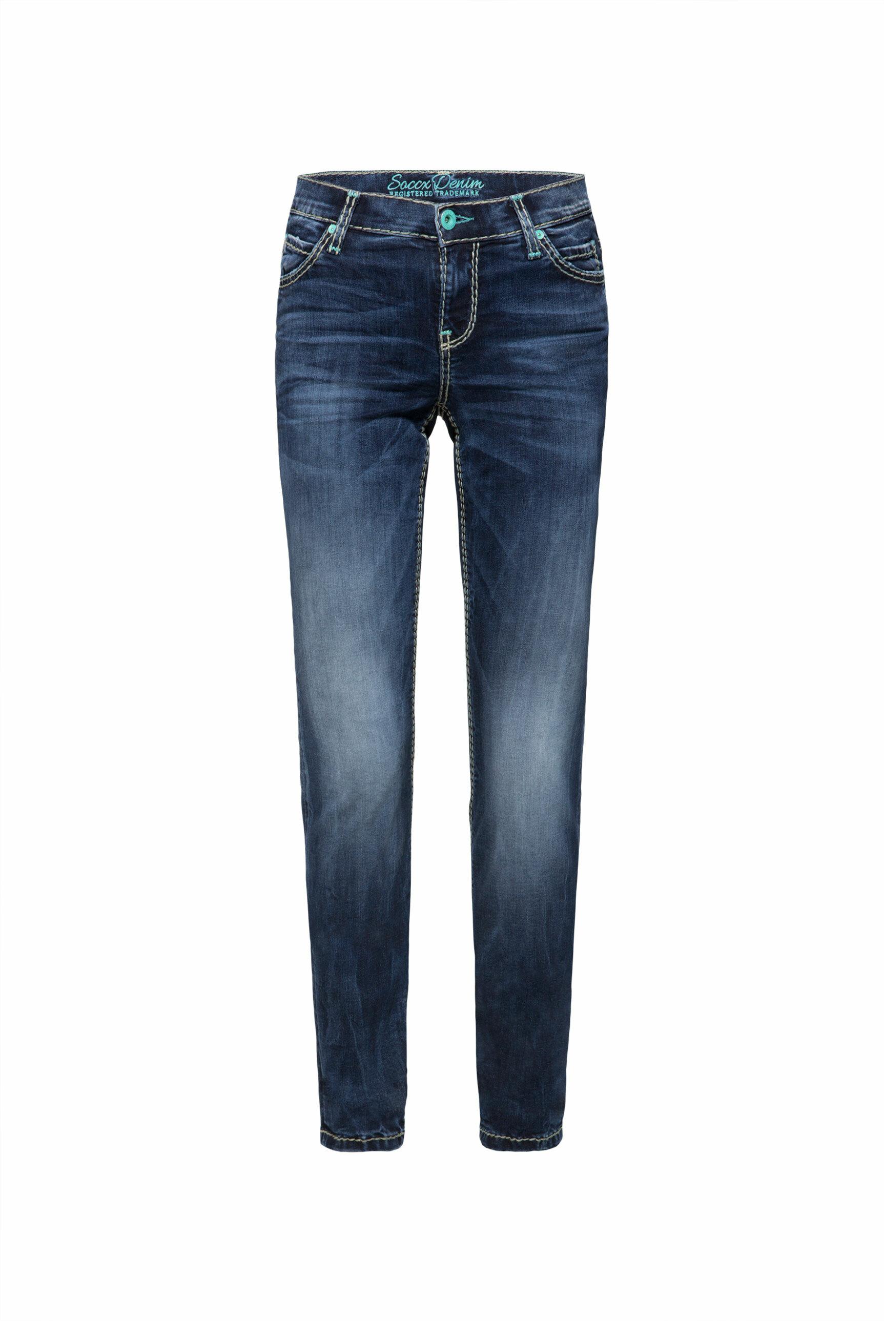 HE:DI Slim Fit Jeans mit breiten Nähten