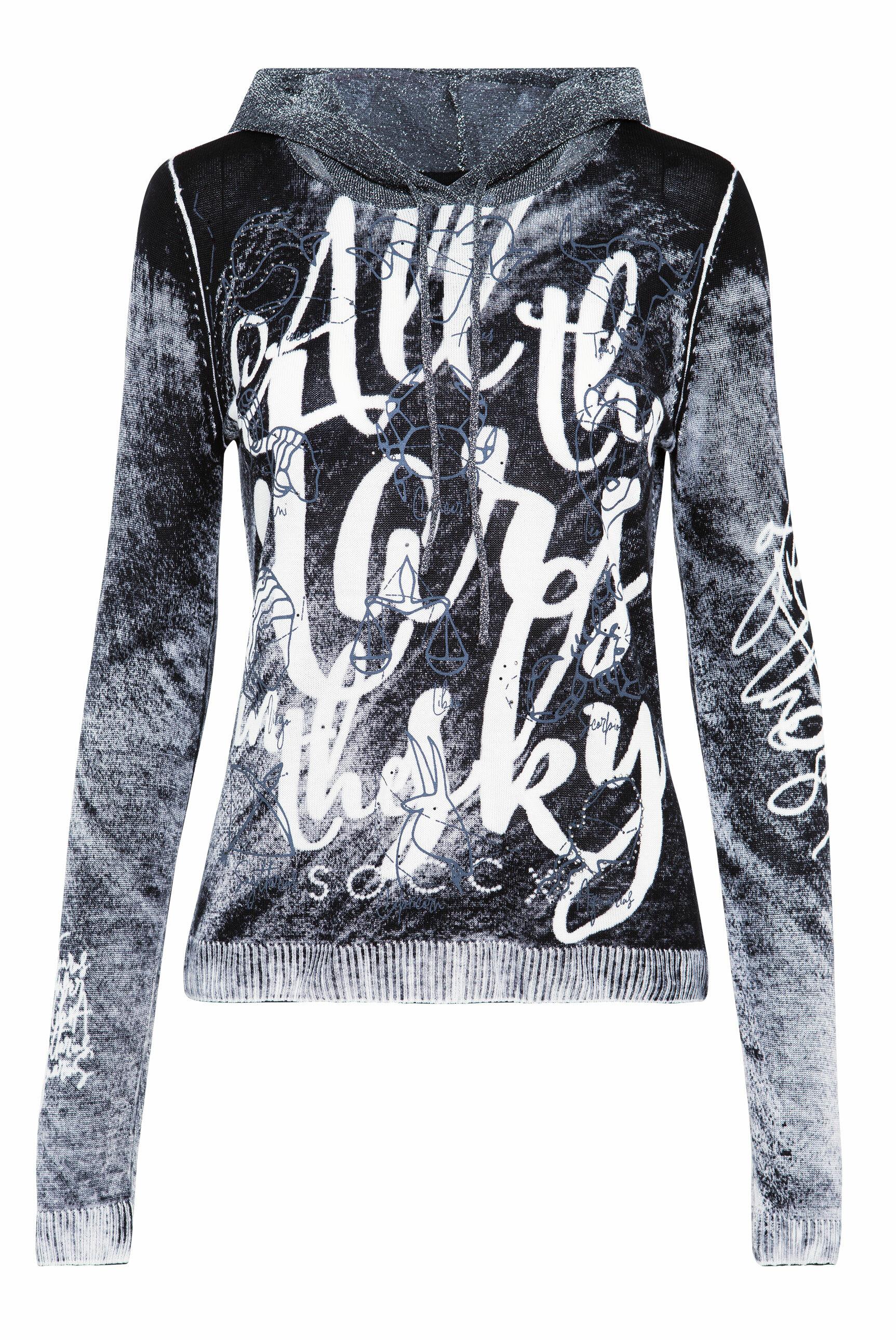 Pullover mit Acid Print und Kapuze