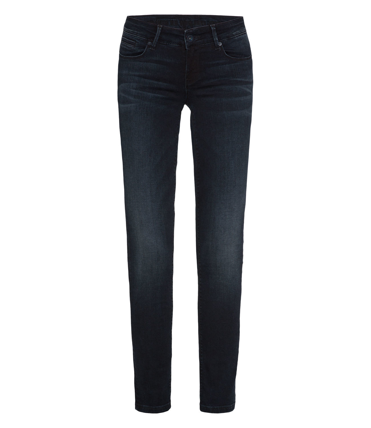 Push Up Jeans mit Used-Waschung, Slim Fit