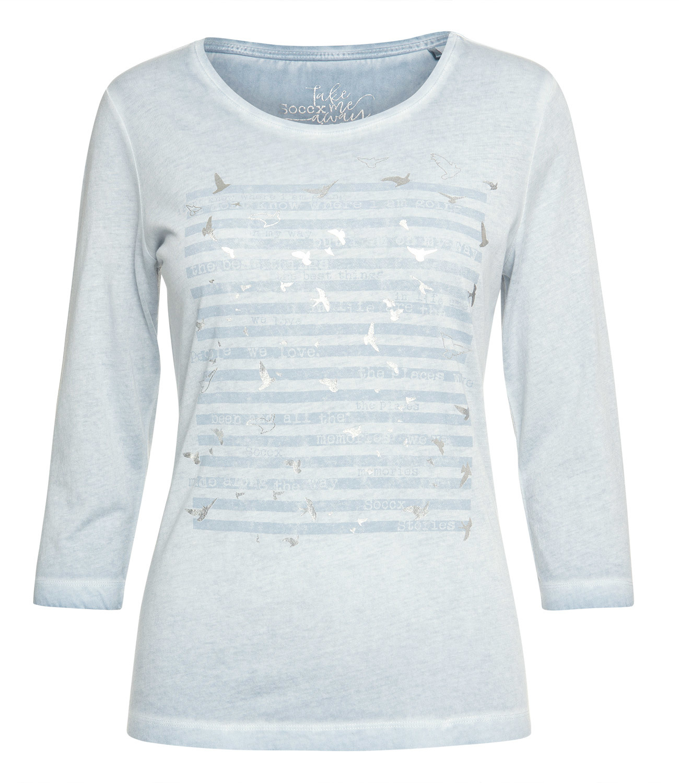 Shirt Inside Oil Dyed mit 3/4-Ärmeln und Artwork