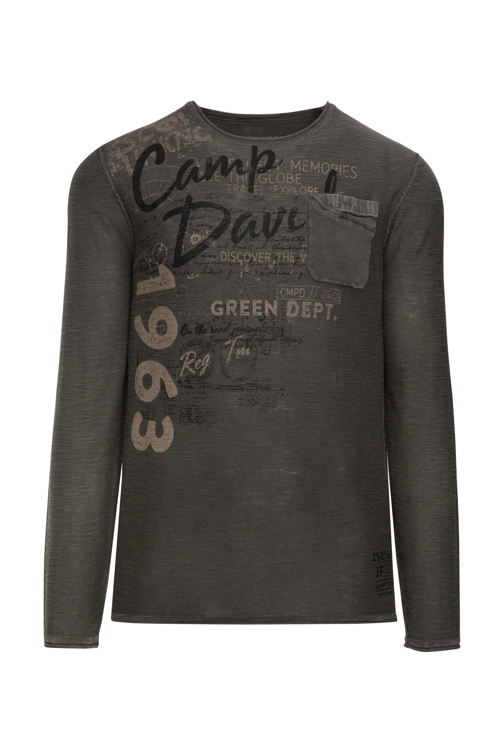 Slub Yarn Pullover mit Print und Tasche