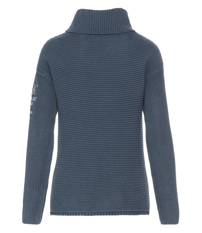 Stone Washed Ripp-Pullover mit Rollkragen