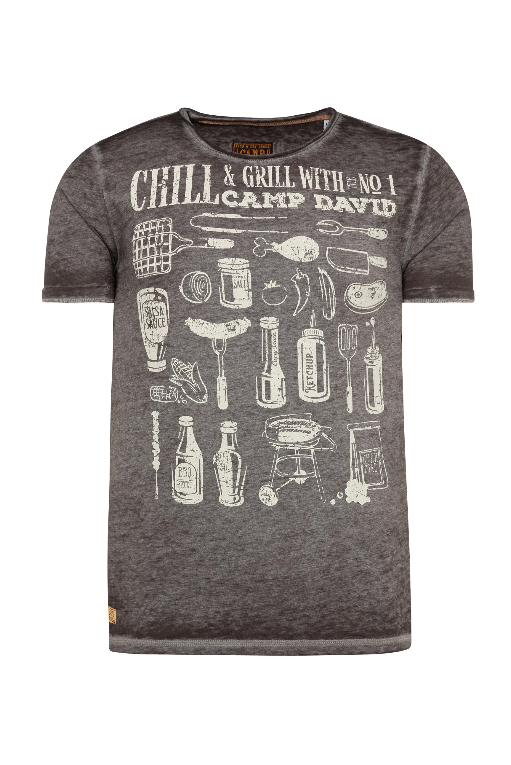 T-Shirt mit Ausbrennern und Used Print