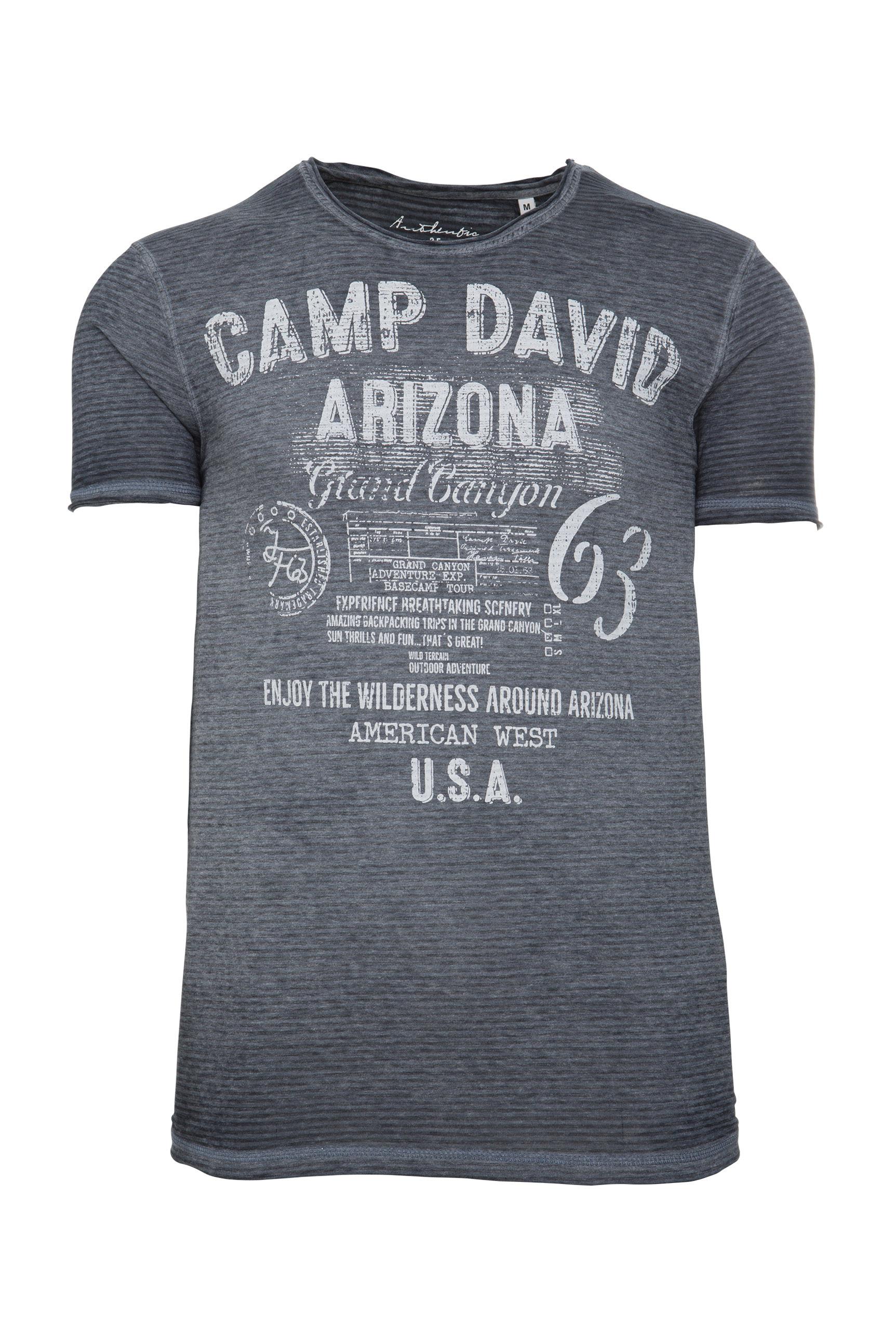 T-Shirt mit Used-Optik und Ausbrenner-Streifen