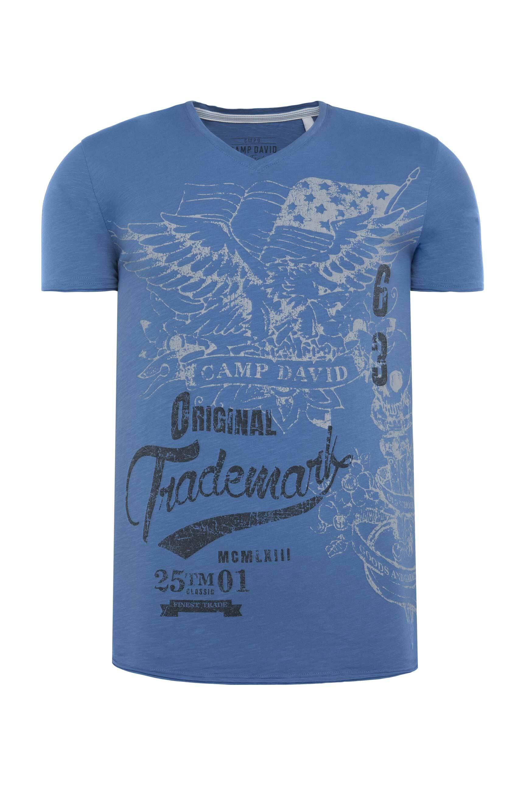 V-Shirt aus Slub Yarn mit Vintage Print