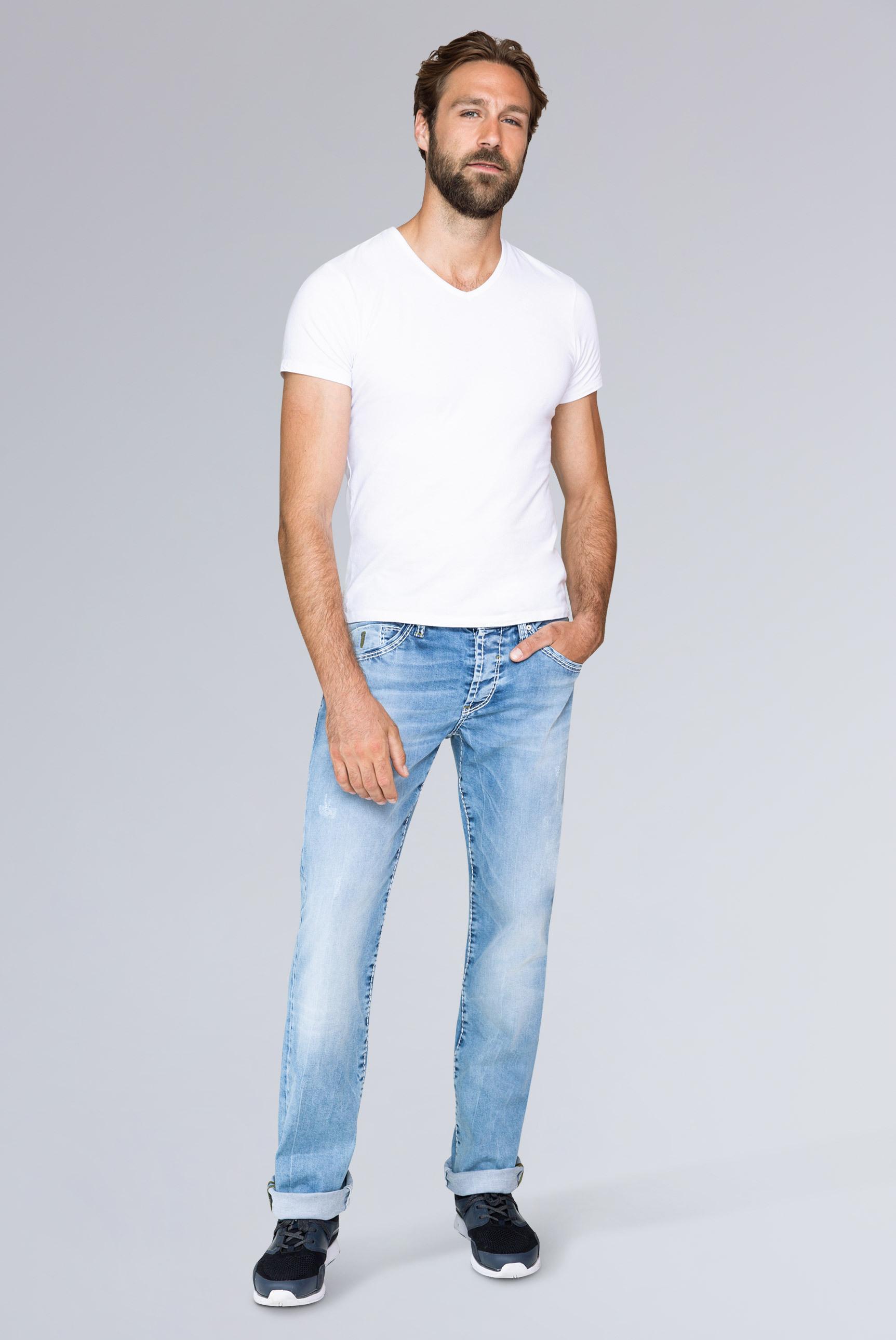 Jeans RO:BI mit Used-Optik und Knopfverschluss