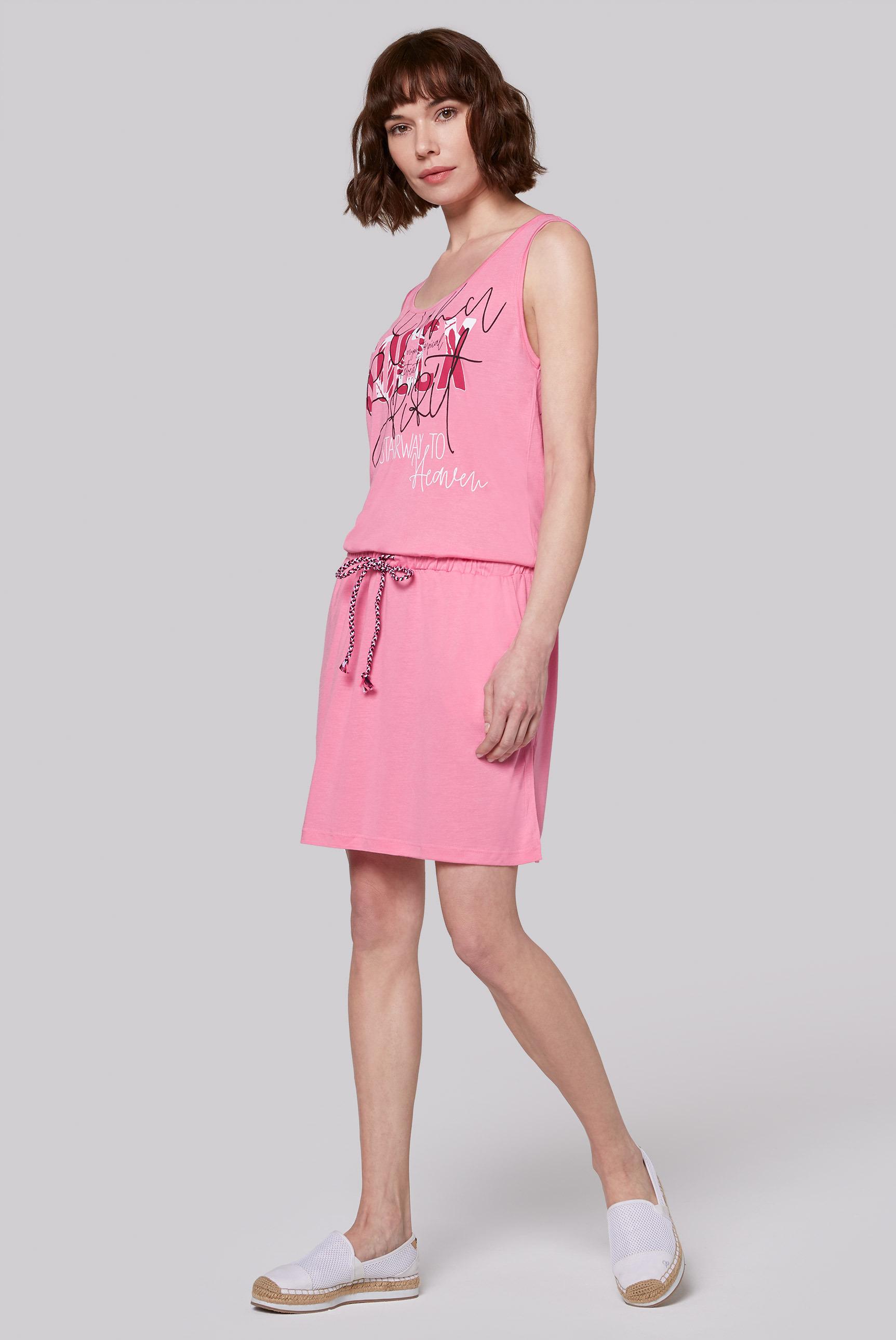 Kleid mit Artwork und Taillengummizug