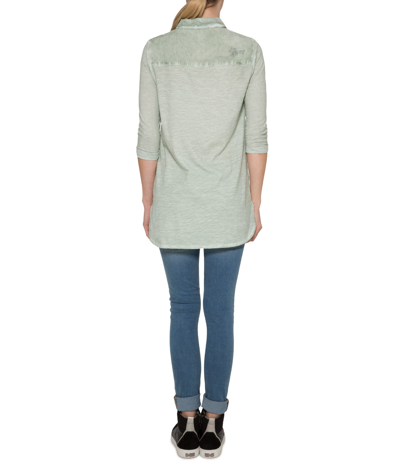Long Bluse im Materialmix