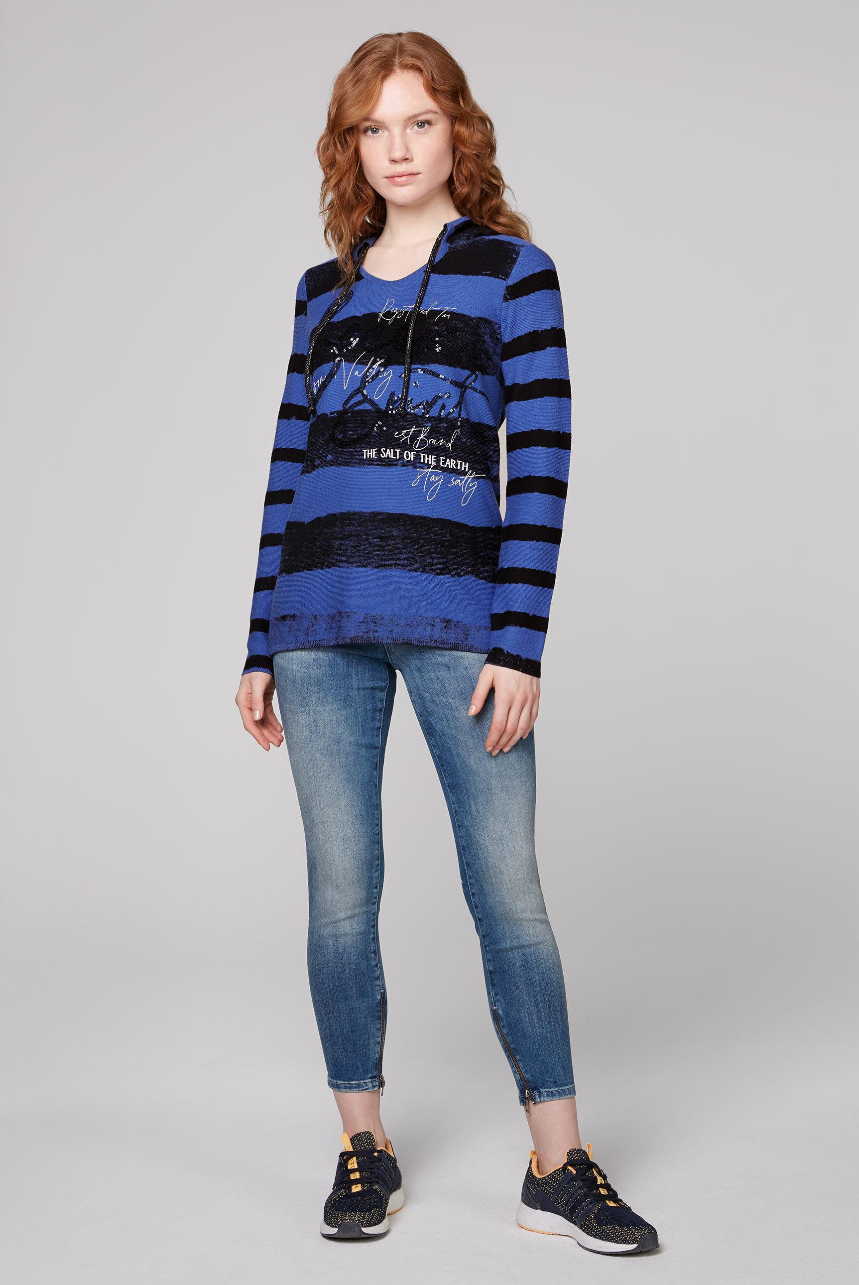 Pullover mit Kapuze, Streifen und Artwork