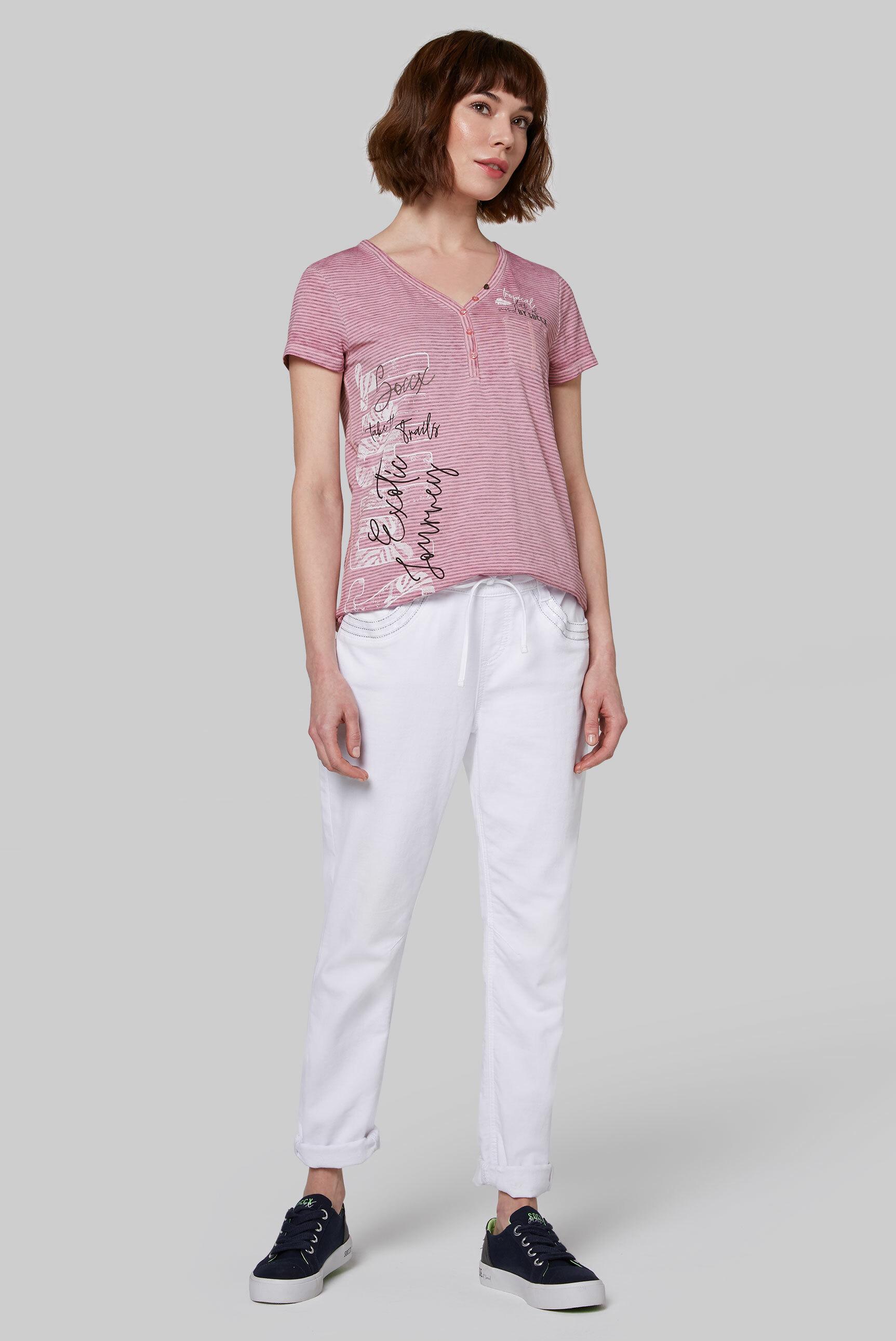 Serafino-Shirt mit Streifen und Burnouts