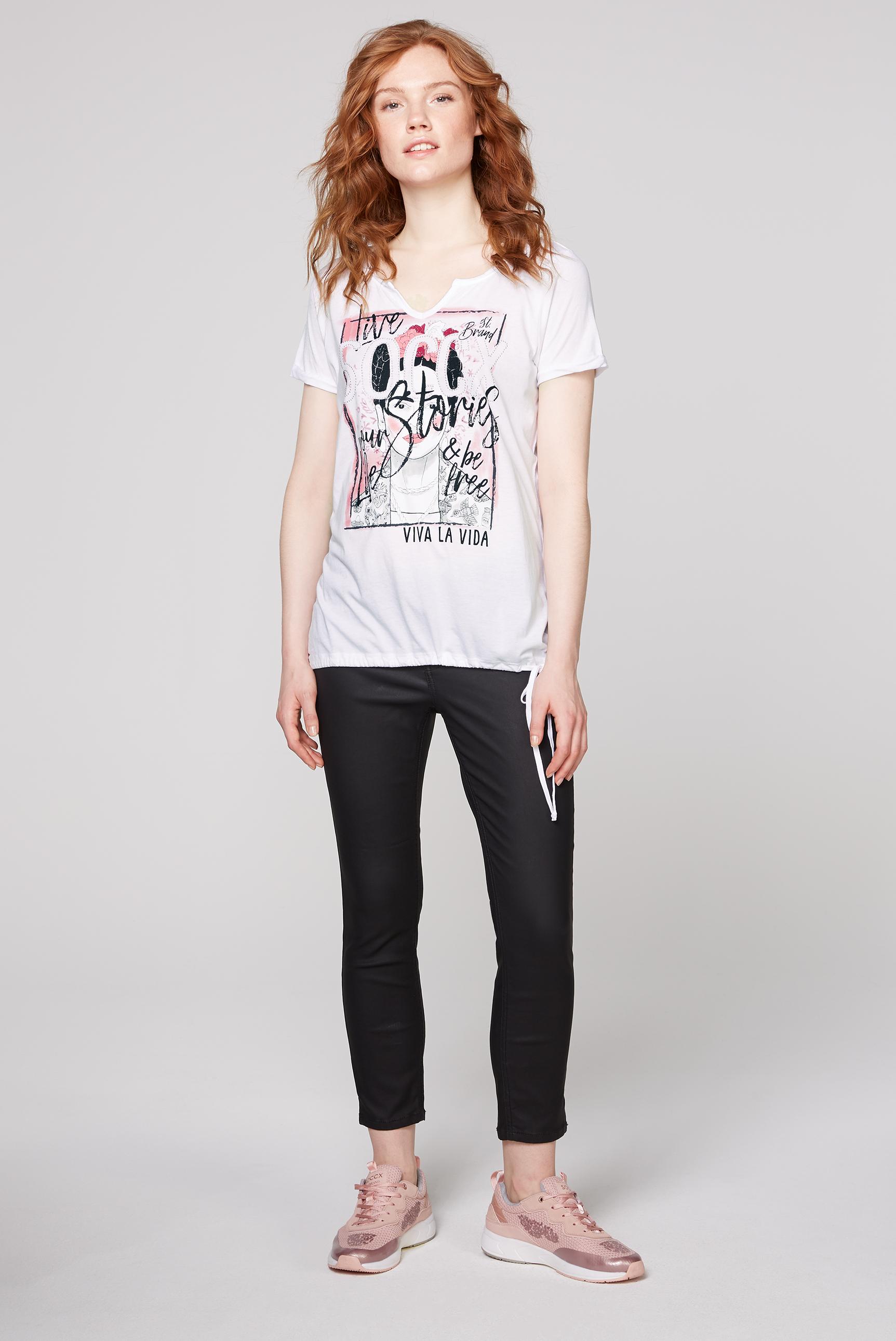 T-Shirt mit Artwork und Saum zum Binden