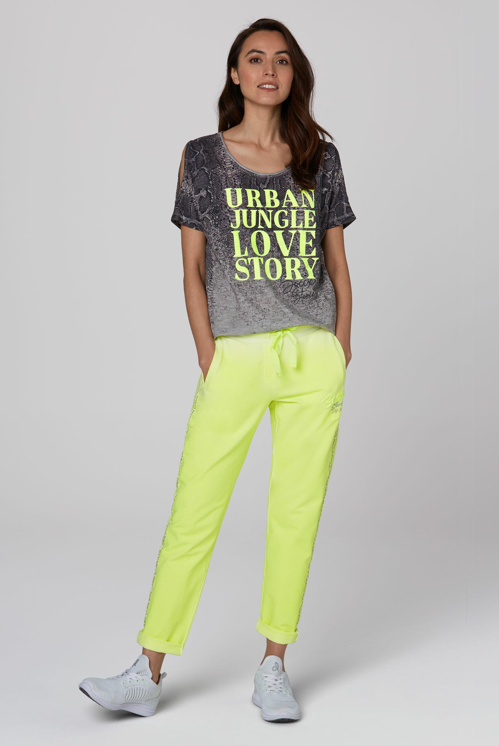 T-Shirt mit Cut Outs und Caviar Print