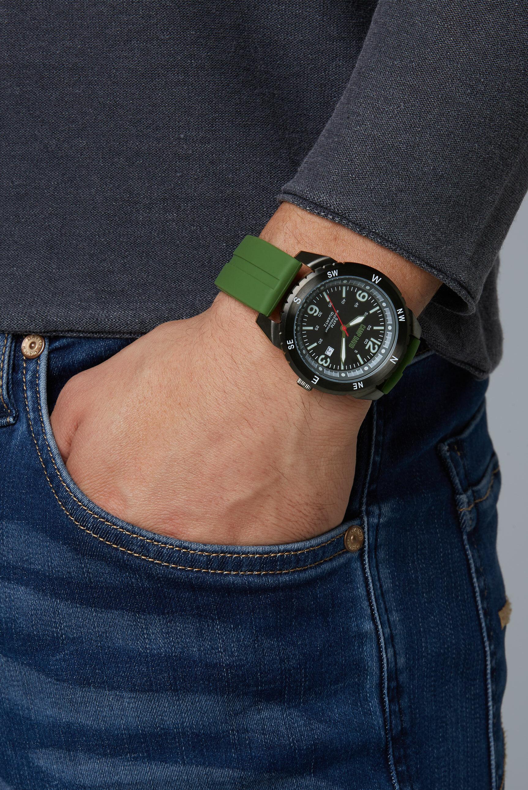 Uhr aus Edelstahl mit Silikonarmband