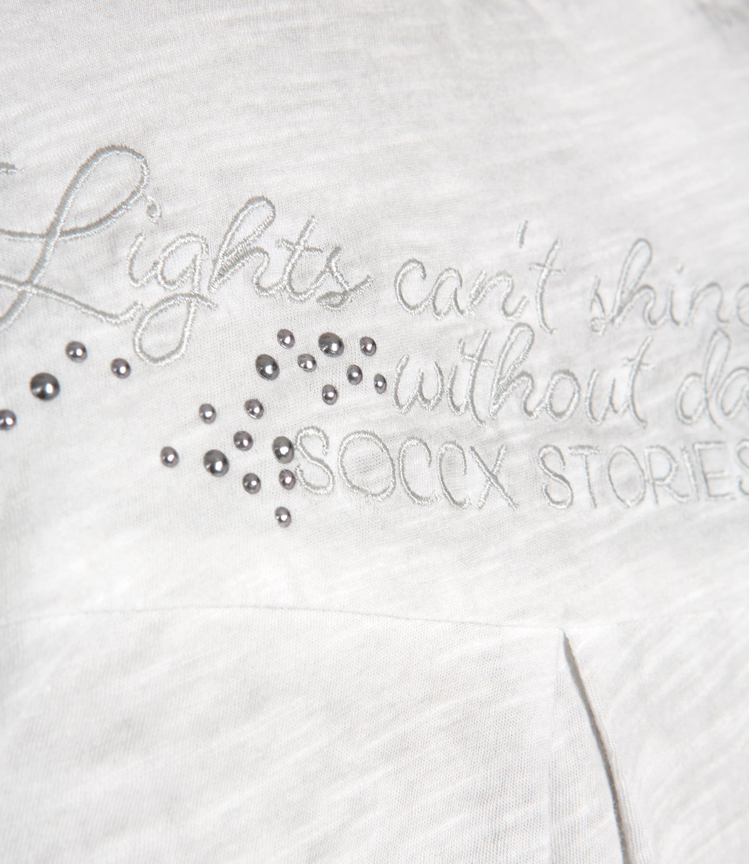 Bluse im Materialmix mit Falten-Dekor