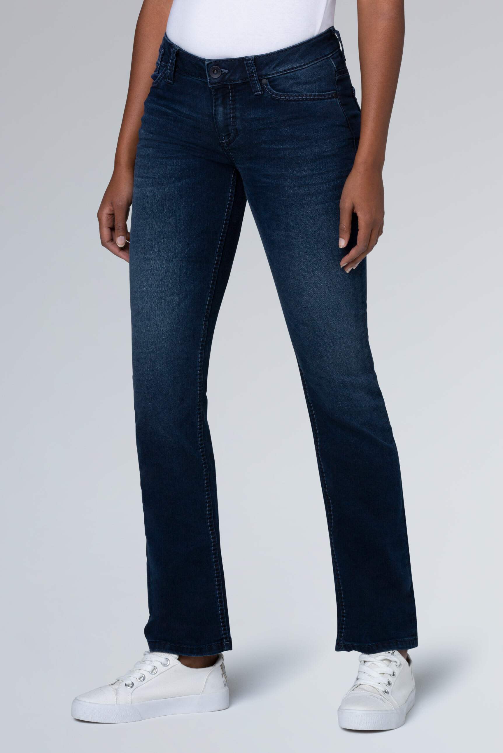 Boot Cut Jeans CO:LE mit Used-Optik, Comfort Fit