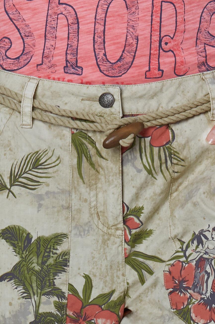 Hose mit All Over Print und Kordelgürtel