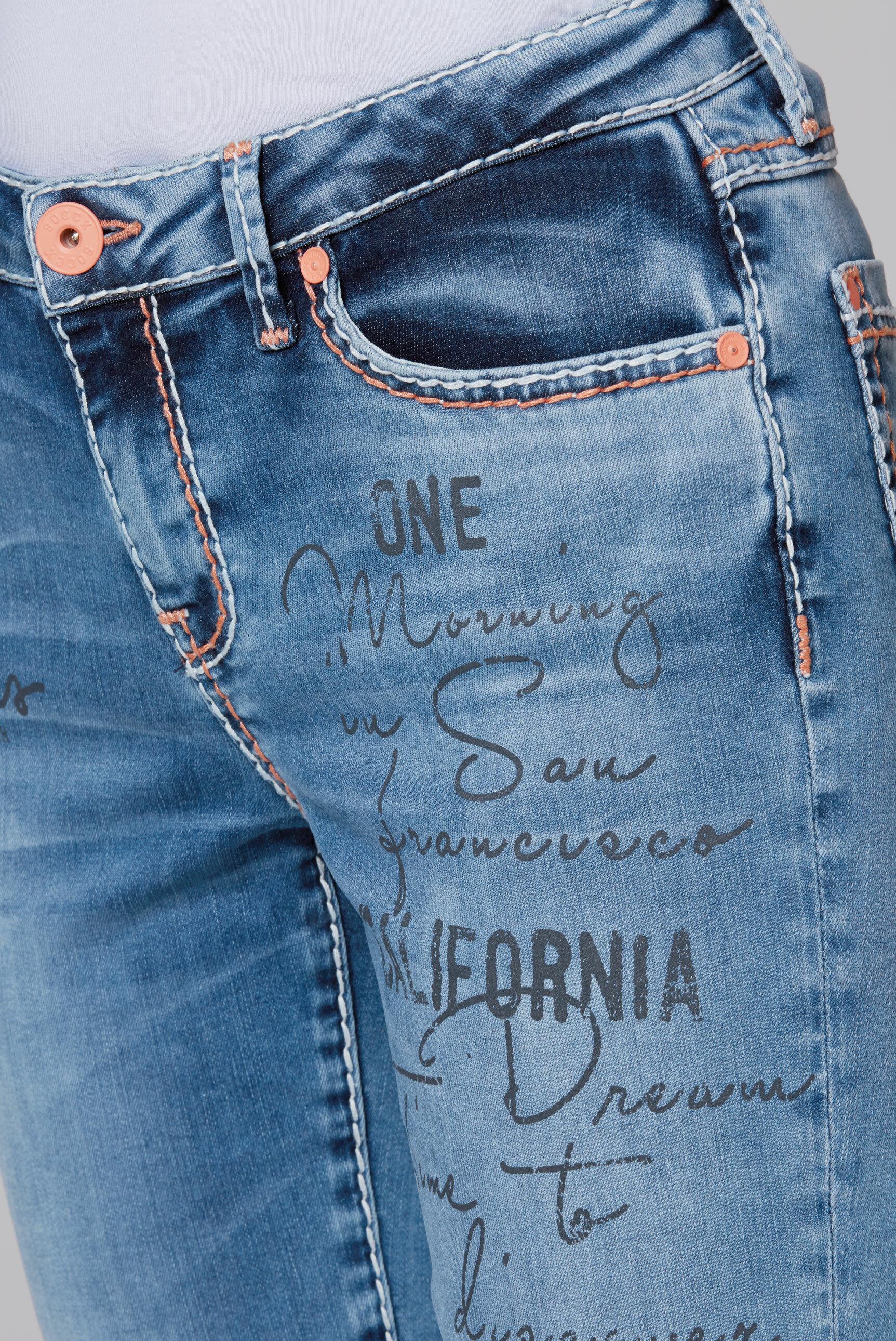 Knielange Jeansshorts RO:MY mit Artworks